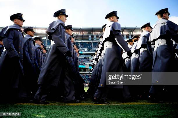 Army Cadets take the field prior to the start of the game against Navy Midshipmen at Lincoln Financial Field on December 08 2018 in Philadelphia...