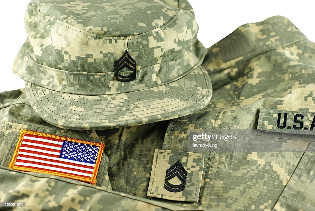 US Army Camouflage Uniform and Cap : Stock Photo