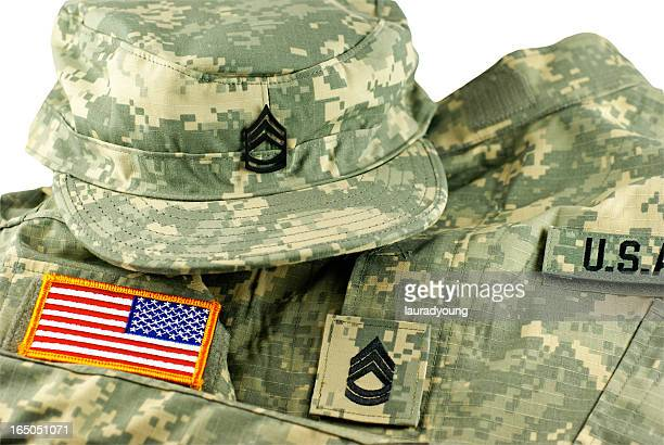 us army camouflage uniform and cap - us military emblems stock pictures, royalty-free photos & images