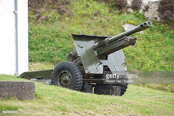 army cannon on grass - gun barrel stock pictures, royalty-free photos & images