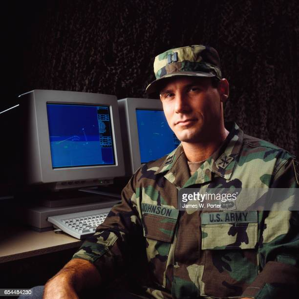 Army Captain with Computer
