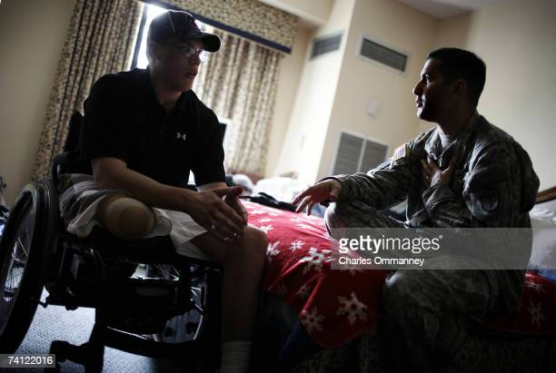 Army Chaplain Roger Benimoff a 34 year old protestant Chaplain from Texas does his rounds with outpatient vets on the Walter Reed Campus April 26...