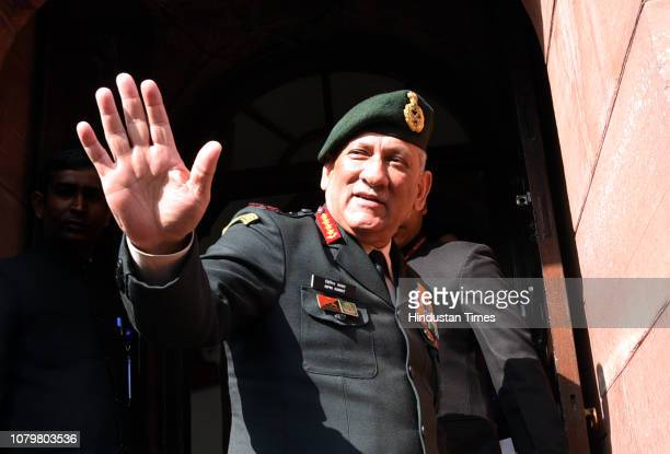 Army Chief General Bipin Rawat arrives at Parliament House for a meeting with Minister of Defence Nirmala Sitharaman on January 9 2019 in New Delhi...