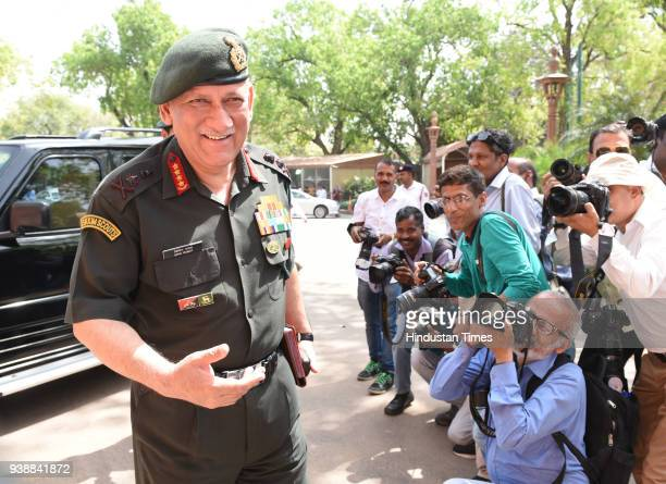 Army Chief General Bipin Rawat at Parliament House on March 27 2018 in New Delhi India