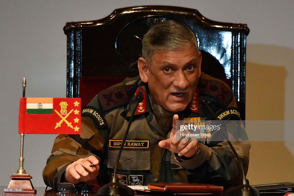 Press Conference Of Army Chief General Bipin Rawat : News Photo