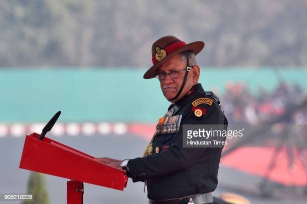 Army Chief General Bipin Rawat during the Army Day Parade 2018 at Delhi cant on January 15 2018 in New Delhi India This year the 70th Army Day is...
