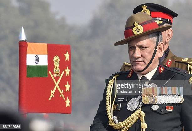 Army Chief General Bipin Rawat inspecting the guard of honour at Army Day Parade 2017 at Delhi Cantt on January 15 2017 in New Delhi India The day...