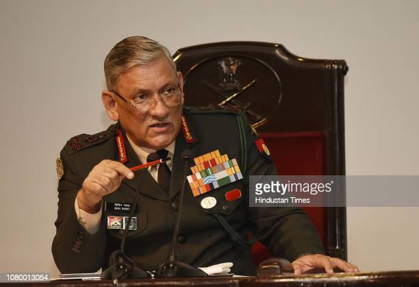 Army Chief General Bipin Rawat speaks during the annual press conference at Manekshaw Centre Delhi Cantt on January 10 2019 in New Delhi India Army...