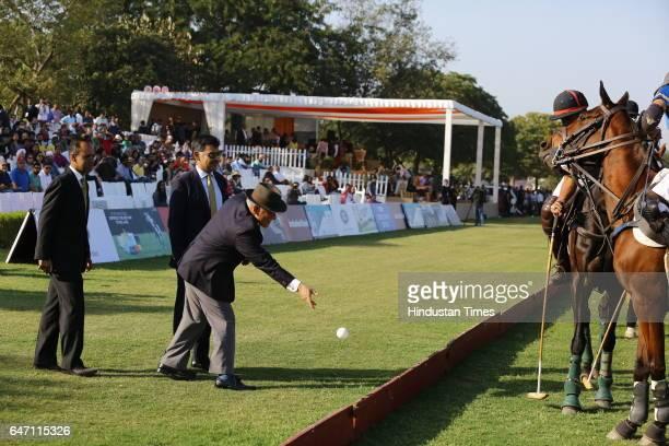 Army Chief General Bipin Rawat throwing the ball to kickstart the match during HH Maharaja Jiwaji Rao Scindia Gold Cup 2017 a charity polo event at...