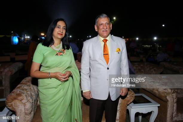 Army Chief General Bipin Rawat with wife Madhulika Rawat during the prize distribution of Golf Tournament at Army Golf Club Dhuala Kuan on April 7...