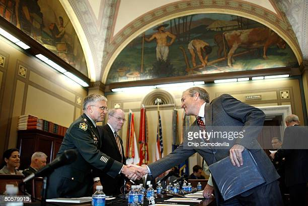 S Army Chief of Staff Gen George Casey greets House Appropriations Subcommittee on Military Construction Veterans Affairs and Related Agencies...