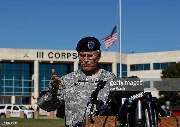 S Army Chief of Staff Gen George W Casey Jr speaks to the media on November 6 2009 in Killeen Texas US Army Major Nidal Malik Hasan an army...