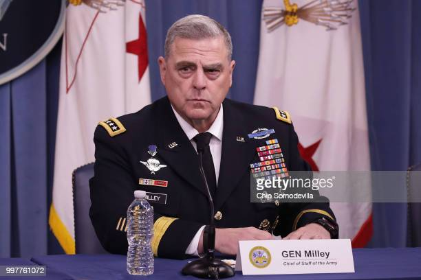 S Army Chief of Staff Gen Mark Milley announces that Austin Texas will be the new headquarters for the Army Futures Command during a news conference...