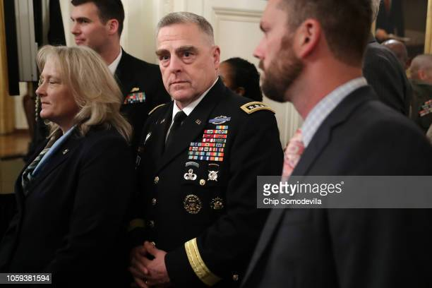 S Army Chief of Staff Gen Mark Milley arrives for an event commemorating the 35th anniversary of attack on the Beirut Barracks in the East Room of...