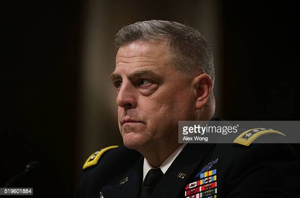 S Army Chief of Staff Gen Mark Milley testifies during a hearing before the Senate Armed Services Committee on Capitol Hill on April 7 2016 in...
