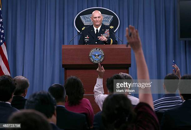 S Army Chief Of Staff Gen Ray Odierno takes questions from the media during last briefing at the Pentagon before he retires August 12 2015 in...