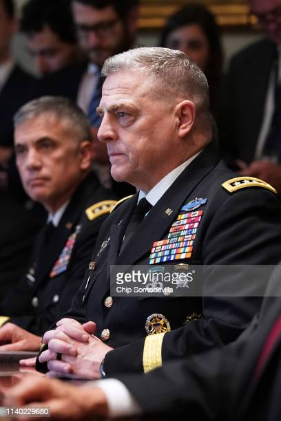 S Army Chief of Staff General Mark Milley attends a briefing with President Donald Trump and other military leaders in the Cabinet Room at the White...