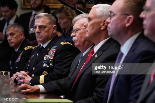 US Army Chief of Staff General Mark Milley National Security Advisor John Bolton Vice President Mike Pence and Chief of Staff Mick Mulvaney attend a...