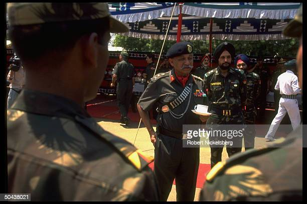 Army CmdrinChief Gen Shankar Roy Chowdhary during farewell fete for 1000member Indian troop contingent joining UN peacekeeping force in Angola