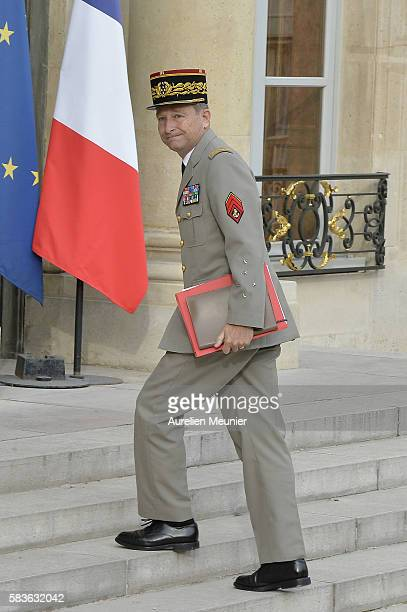 Army Commander in Chief General Pierre de Villiers arrives at Elysee Palace for a security council with French President Francois Hollande following...