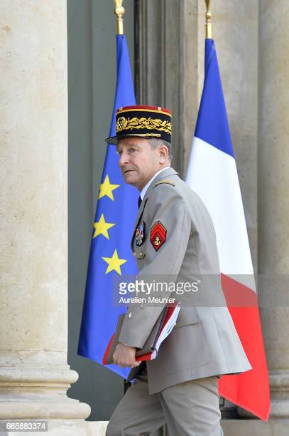 Army Commander in Chief General Pierre de Villiers arrives for a special defense council at Elysee Palace on April 7 2017 in Paris France The meeting...