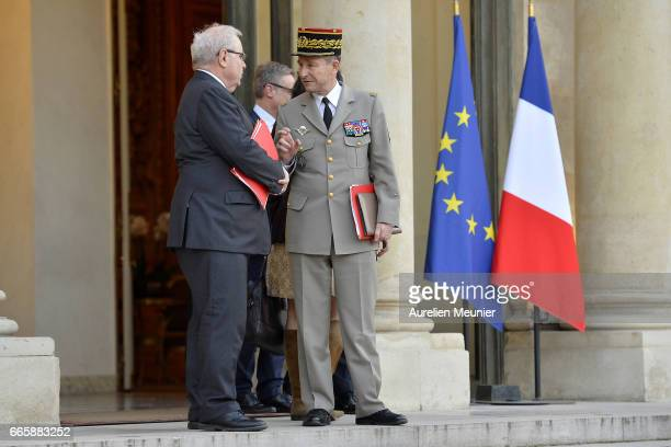 Army Commander in Chief General Pierre de Villiers leaves after a special defense council at Elysee Palace on April 7 2017 in Paris France The...
