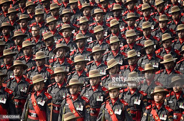 Army contingent march past during a full dress rehearsal of the Republic Day Parade on January 23 2016 in New Delhi India Annual parade is held at...