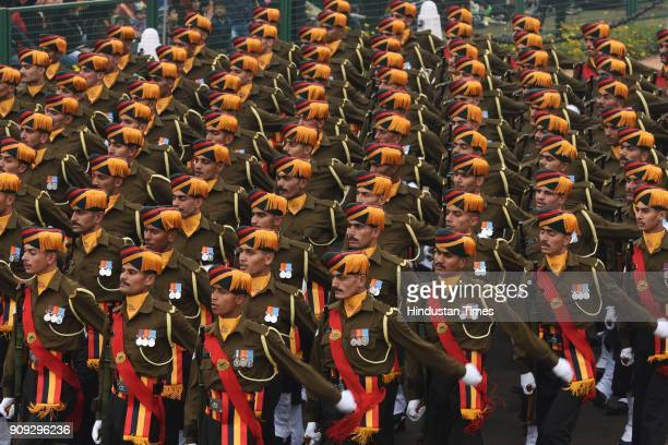 Army contingent passes through the saluting base at Rajpath during the full dress rehearsal for the Republic Day Parade on January 23 2018 in New...