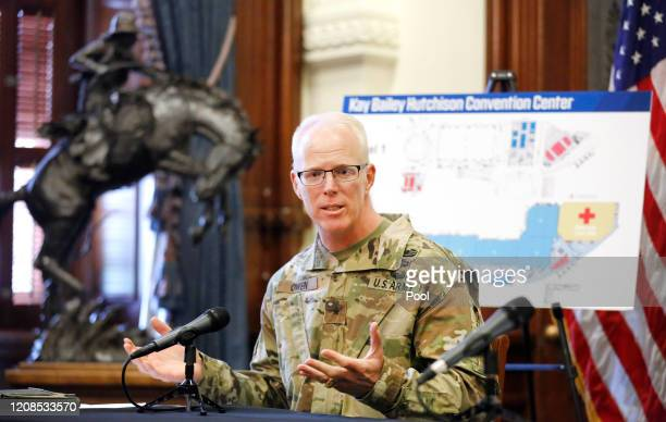 Army Corps of Engineers Brigadier General Paul Owen speaks about the 250-bed field hospital to be built inside the Kay Bailey Hutchison Convention...