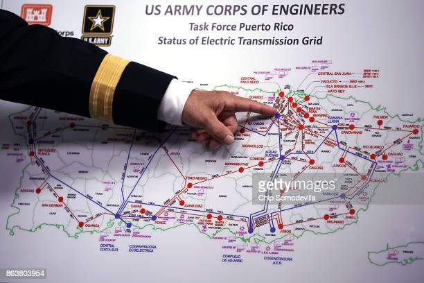 S Army Corps of Engineers Commander Lt Gen Todd Semonite references a map of Puerto Rico's electic transmission grid during a news conference about...
