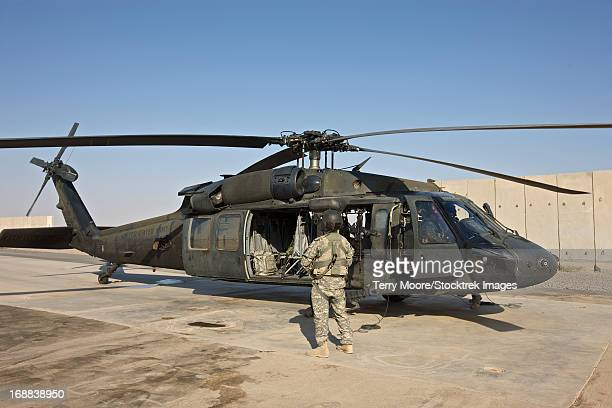 A U.S. Army crew chief stands by while pilots go through their pre-start checks on a UH-60 Black Hawk, Tikrit, Iraq.