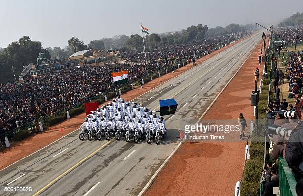 Army dare devil team on Motorcycles during a full dress rehearsal of the Republic Day Parade on January 23 2016 in New Delhi India Annual parade is...