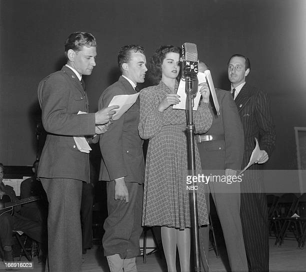 NBC RADIO '1941 Army Day Ceremonies at Camp Roberts' Pictured Private William Thomas Private John Stein actress Jane Russell actor Basil Rathbone...