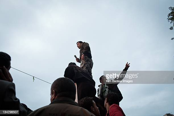 Army defector speaks in Tahrir Square on the eve of elections in downtown Cairo on November 27 2011 in Cairo Egypt