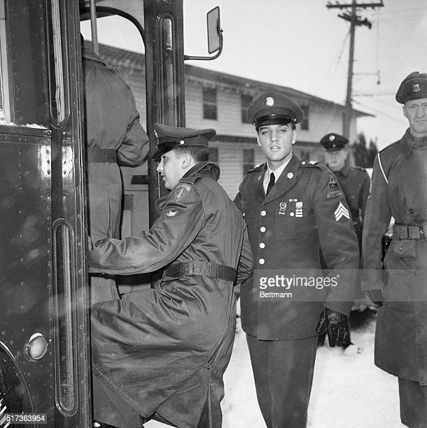 Army Discharge Presley. Fort Dix, New Jersey. Sargent Elvis Presley pictured as he boarded bus at Fort Dix, New Jersey en route from orientation...