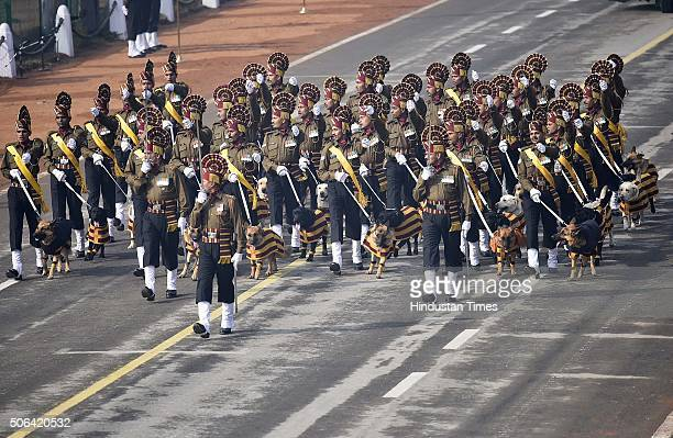Army Dog Squad march past during a full dress rehearsal of the Republic Day Parade on January 23 2016 in New Delhi India Annual parade is held at...