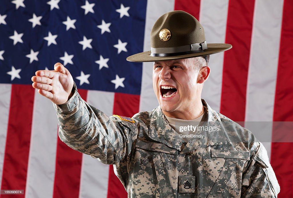 U S Army Drill Sergeant Giving Instruction : Stock Photo