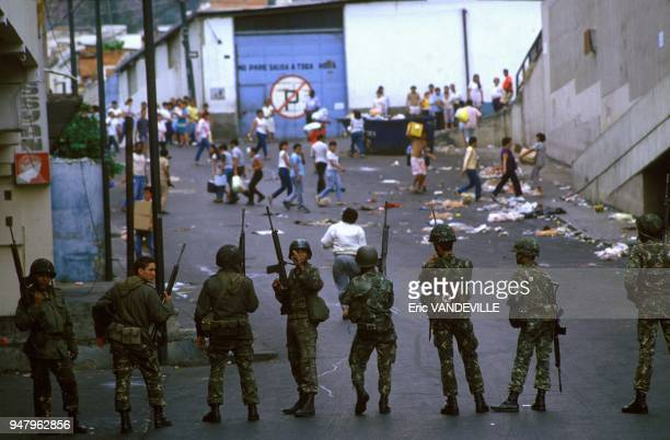 Army during riots in Caracas on March 1 1989 in Caracas Venezuela