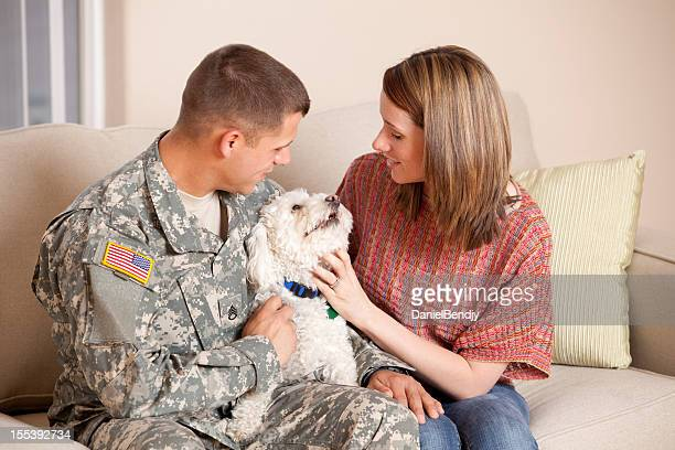 Army Family Series: Real American Soldier With Wife Indoor