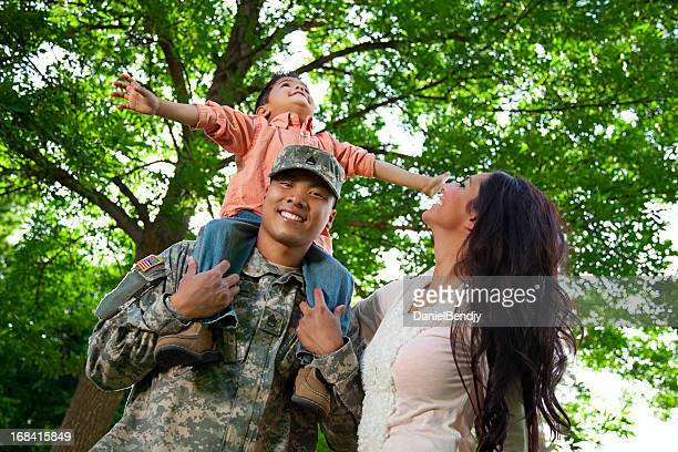 Army Family Series: Young US Soldier with Wife & Son