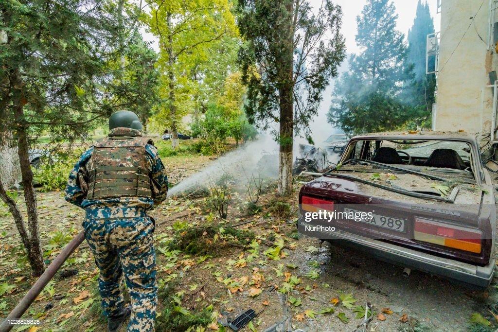 Shelling of Azerbaijan army over Martuni city in Nagorno Karabakh : News Photo
