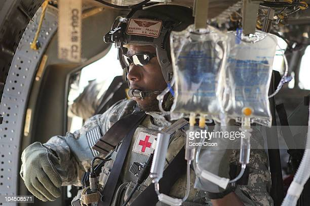 S Army flight medic SSG Rahkeem Francis of the Queens borough of New York City with Dustoff Task Force Shadow of the 101st Combat Aviation Brigade...