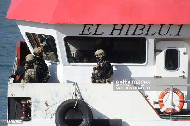 Army forces stand onboard Motor Tanker El Hiblu 1 that was hijacked by migrants it had rescued off Libya docked at Boiler Wharf in Valletta's Grand...