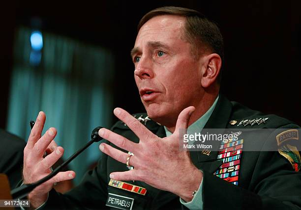 Army Gen David Petraeus CENTCOM Commander participates in a Senate Foreign Relations Committee hearing on Capitol Hill December 9 2009 in Washington...