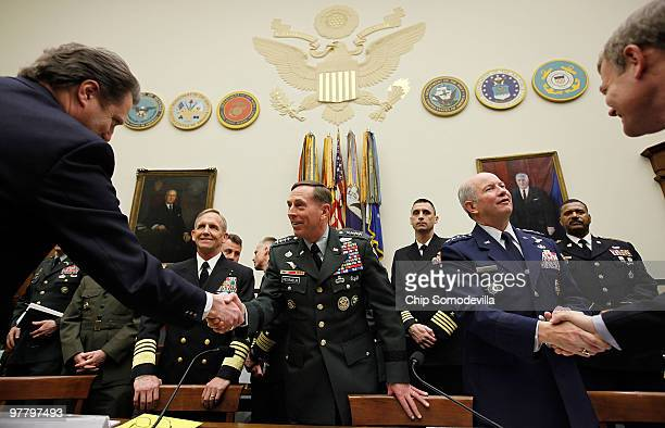 S Army Gen David Petraeus commander of the US Central Command Navy Adm Eric Olson commander of the US Special Operations Command and Air Force Gen...