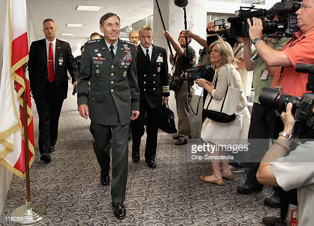 S Army Gen David Petraeus commander of US and ISAF forces in Afghanistan arrives for a meeting with Senate Select Committee on Intelligence Chairman...