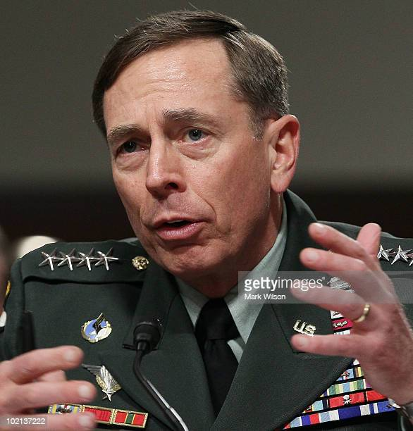 Army Gen David Petraeus speaks during a Senate Armed Services Committee hearing on Capitol Hill on June 16 2010 in Washington DC General Petraeus is...