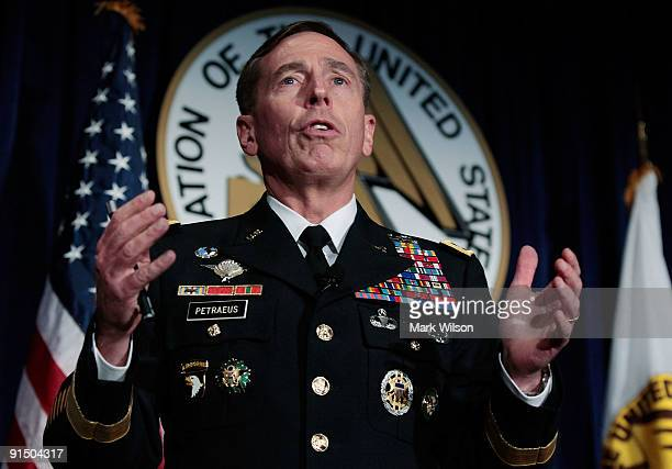 S Army Gen David Petraeus speaks during the Convention and Exposition of the Association of the United States Army at the Convention Center October 6...
