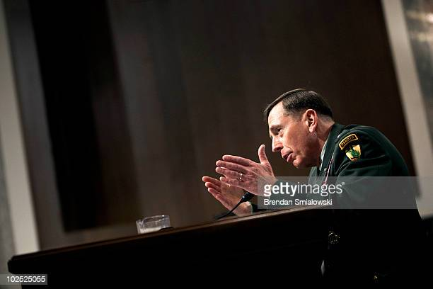S Army Gen David Petraeus the commander of US forces in the Middle East speaks during his confirmation hearing before the Senate Armed Services...