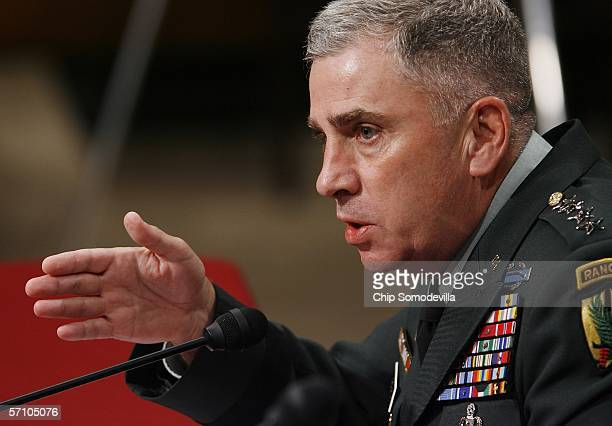 S Army Gen John Abizaid commander of the US Central Command testifies before a full Senate Armed Services Committee hearing on Capitol Hill March 16...